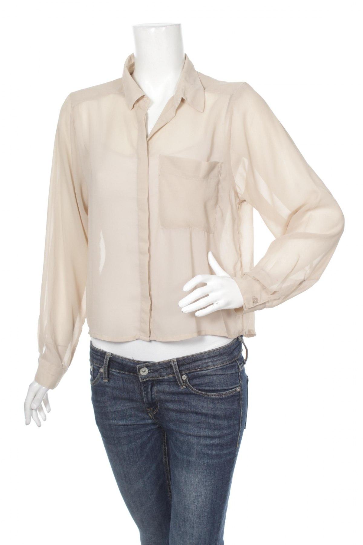 Γυναικείο πουκάμισο H&M, Μέγεθος M, Χρώμα  Μπέζ, 100% πολυεστέρας, Τιμή 15,46€
