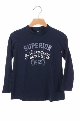 Детска блуза United Colors Of Benetton, Размер 4-5y/ 110-116 см, Цвят Син, 57% памук, 38% полиестер, 5% еластан, Цена 7,25лв.