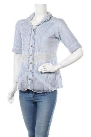 Дамска риза, Размер S, Цвят Син, 90% памук, 8% полиестер, 2% еластан, Цена 4,59лв.