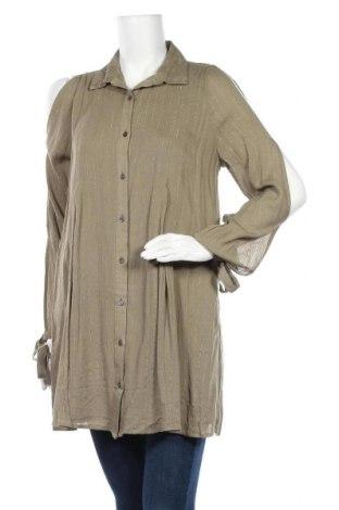 Γυναικείο πουκάμισο, Μέγεθος M, Χρώμα Πράσινο, 99% βισκόζη, 1% μεταλλικά νήματα, Τιμή 6,86€