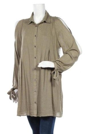 Дамска риза, Размер L, Цвят Зелен, 99% вискоза, 1% метални нишки, Цена 10,92лв.