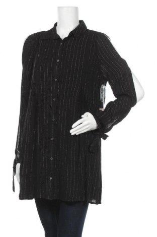 Γυναικείο πουκάμισο, Μέγεθος L, Χρώμα Μαύρο, 99% βισκόζη, 1% μεταλλικά νήματα, Τιμή 6,50€