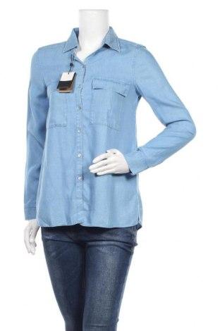 Дамска риза Massimo Dutti, Размер XS, Цвят Син, Лиосел, Цена 29,37лв.