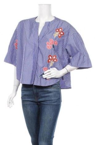 Дамска риза Zara, Размер M, Цвят Син, 57% полиестер, 43% памук, Цена 21,16лв.
