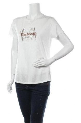 Дамска тениска Massimo Dutti, Размер M, Цвят Бял, 67% лиосел, 33% памук, Цена 18,48лв.