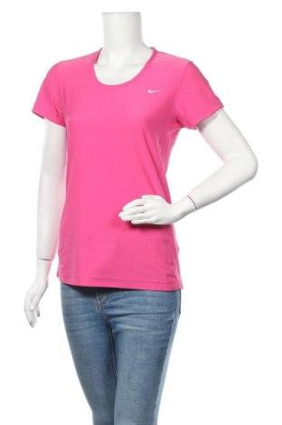 Дамска тениска Nike, Размер M, Цвят Розов, 88% полиестер, 12% еластан, Цена 33,60лв.