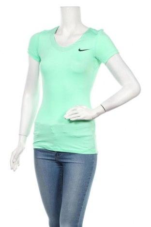 Дамска тениска Nike, Размер XS, Цвят Зелен, 84% полиестер, 16% еластан, Цена 32,00лв.