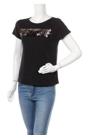 Дамска тениска Review, Размер M, Цвят Черен, 50% памук, 50% вискоза, Цена 19,80лв.