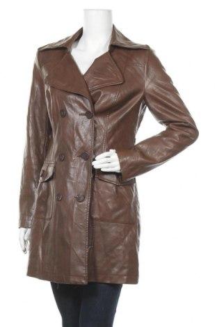 Дамски кожен шлифер Clockhouse, Размер L, Цвят Кафяв, Еко кожа, Цена 35,28лв.