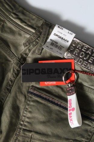 Дамски панталон Cipo & Baxx, Размер M, Цвят Зелен, 98% памук, 2% еластан, Цена 21,42лв.