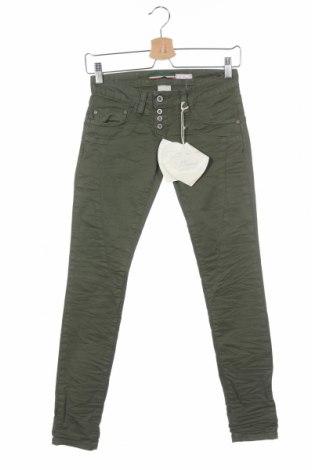 Дамски панталон Please, Размер XXS, Цвят Зелен, 98% памук, 2% еластан, Цена 15,90лв.