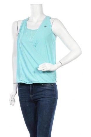 Γυναικείο αμάνικο μπλουζάκι Adidas, Μέγεθος L, Χρώμα Μπλέ, 78% πολυεστέρας, 22% ελαστάνη, Τιμή 10,49€