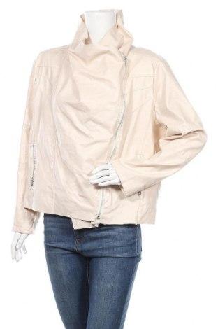 Дамско кожено яке, Размер XXL, Цвят Екрю, Еко кожа, Цена 27,98лв.