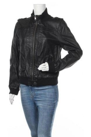 Дамско кожено яке Clockhouse, Размер XL, Цвят Черен, Еко кожа, Цена 31,92лв.
