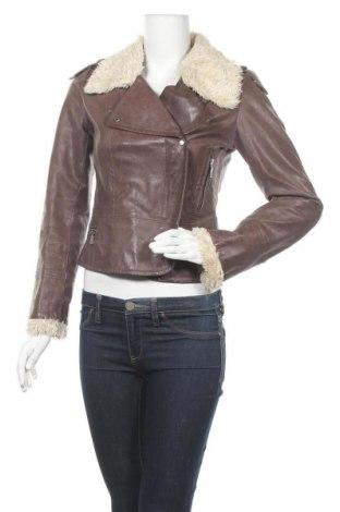 Дамско кожено яке Clockhouse, Размер M, Цвят Кафяв, Естествена кожа, Цена 20,48лв.