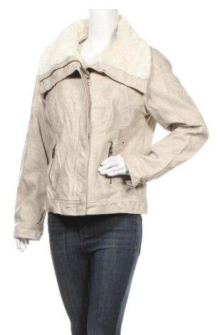 Дамско кожено яке Colours Of The World, Размер XXL, Цвят Бежов, Еко кожа, Цена 22,68лв.