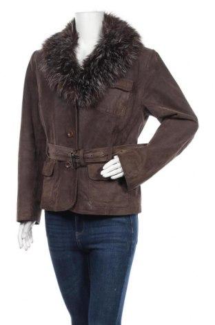 Дамско кожено яке Yessica, Размер XL, Цвят Кафяв, Естествен велур, Цена 22,58лв.