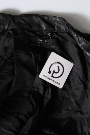 Γυναικείο δερμάτινο μπουφάν Zara, Μέγεθος M, Χρώμα Μαύρο, Δερματίνη, Τιμή 31,82€