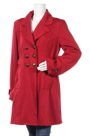 Дамско палто, Размер L, Цвят Червен, 79% полиестер, 15% вискоза, 6% еластан, Цена 25,41лв.