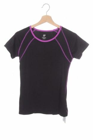 Παιδικό μπλουζάκι H&M Sport, Μέγεθος 12-13y/ 158-164 εκ., Χρώμα Μαύρο, 87% πολυεστέρας, 13% ελαστάνη, Τιμή 6,43€