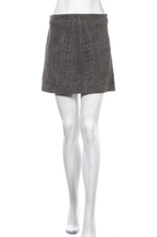 Кожена пола Zara, Размер S, Цвят Сив, Естествен велур, Цена 10,92лв.