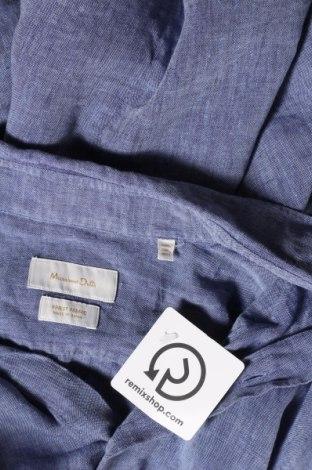 Мъжка риза Massimo Dutti, Размер L, Цвят Син, Лен, Цена 51,00лв.
