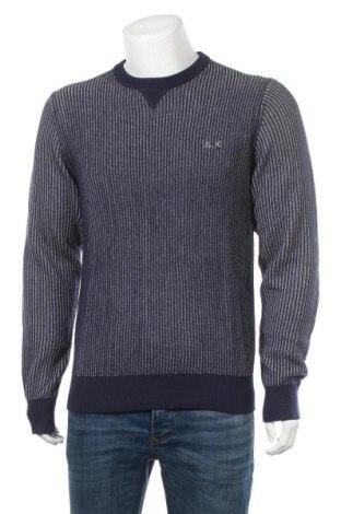 Мъжки пуловер SUN68, Размер L, Цвят Син, 50% вълна, 50% памук, Цена 42,84лв.