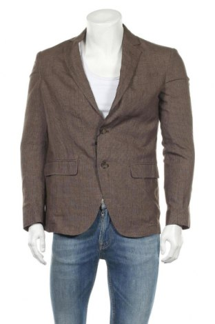 Ανδρικό σακάκι Massimo Dutti, Μέγεθος L, Χρώμα Καφέ, Λινό, Τιμή 20,46€