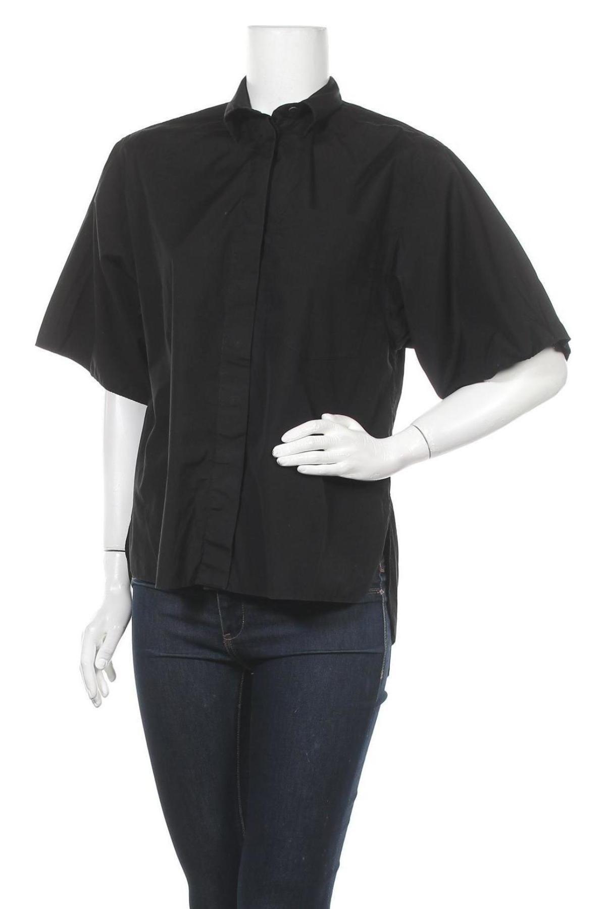Дамска риза Massimo Dutti, Размер XS, Цвят Черен, Памук, Цена 28,12лв.