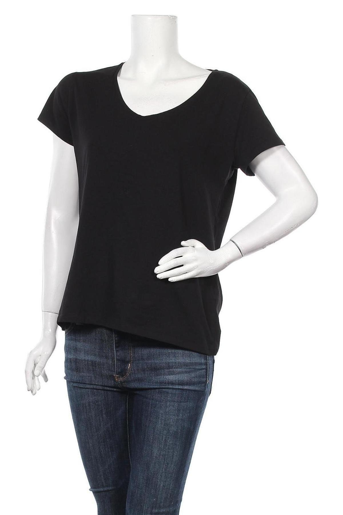 Дамска тениска Massimo Dutti, Размер XL, Цвят Черен, 92% памук, 8% еластан, Цена 20,65лв.
