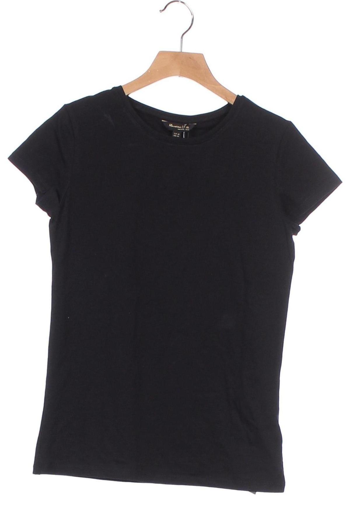 Дамска тениска Massimo Dutti, Размер XS, Цвят Черен, 92% памук, 8% еластан, Цена 36,75лв.