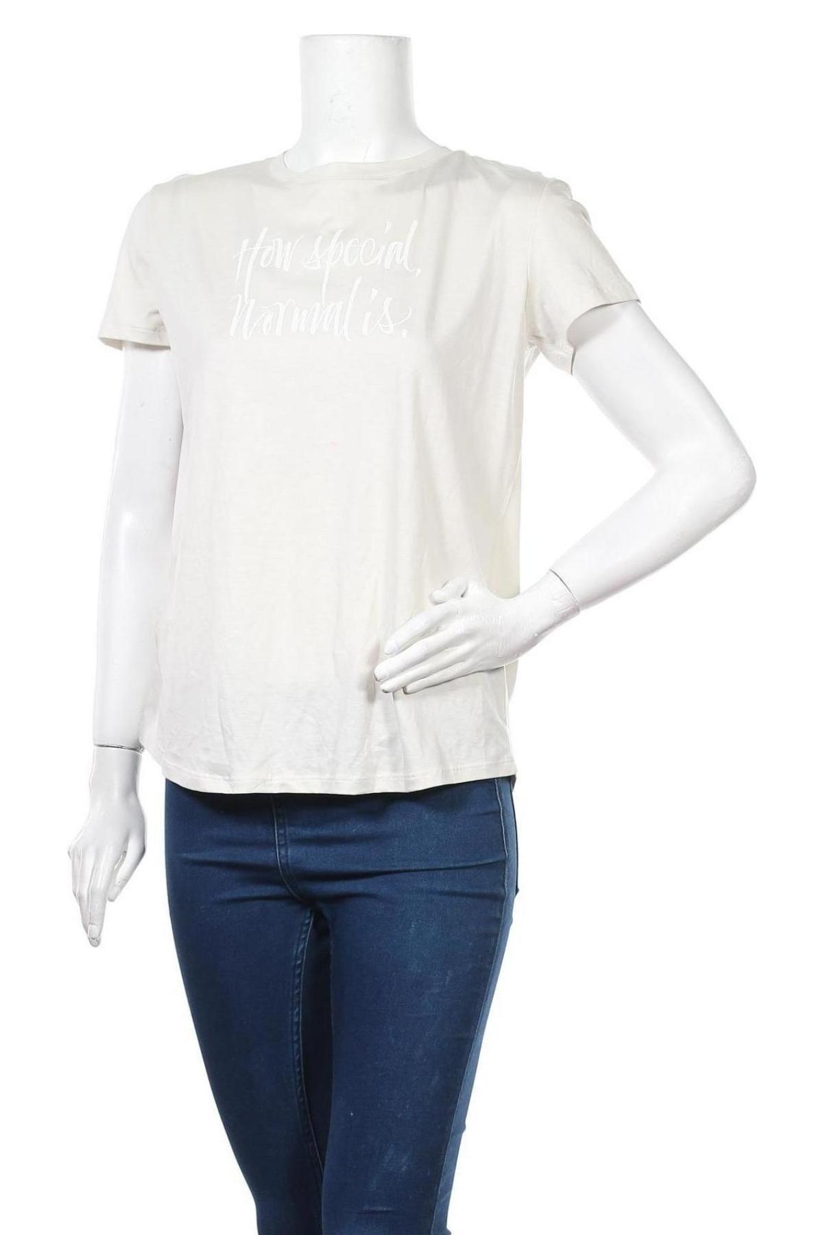 Дамска тениска Massimo Dutti, Размер M, Цвят Бежов, 67% лиосел, 33% памук, Цена 39,00лв.