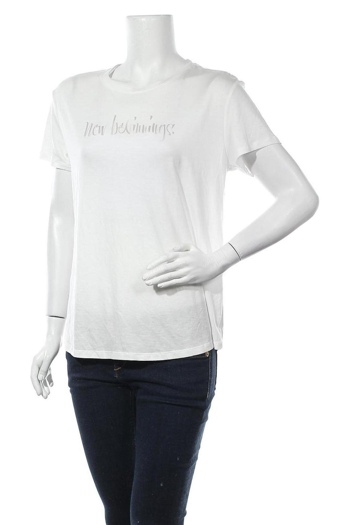 Дамска тениска Massimo Dutti, Размер L, Цвят Бял, 67% лиосел, 33% памук, Цена 20,30лв.
