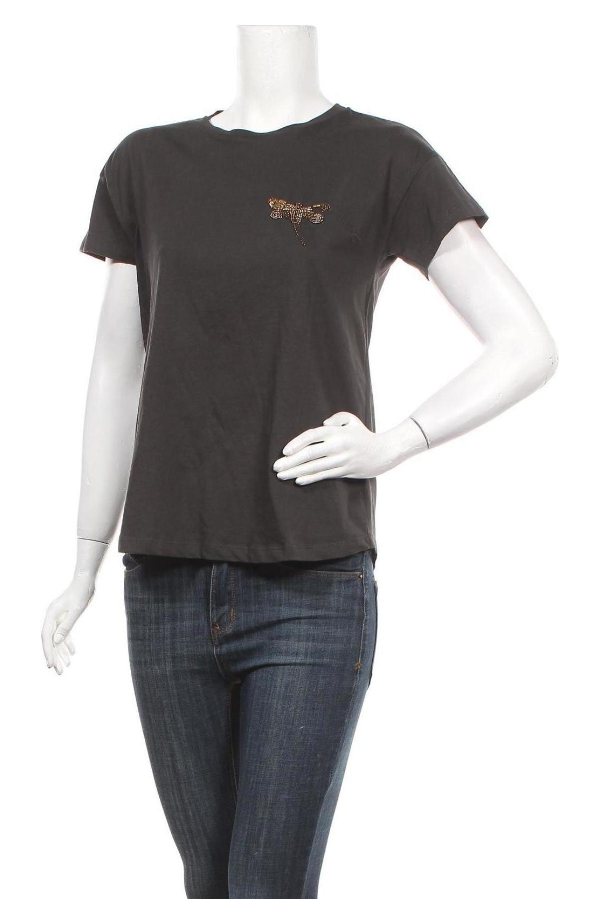Дамска тениска Massimo Dutti, Размер S, Цвят Сив, Памук, Цена 13,52лв.