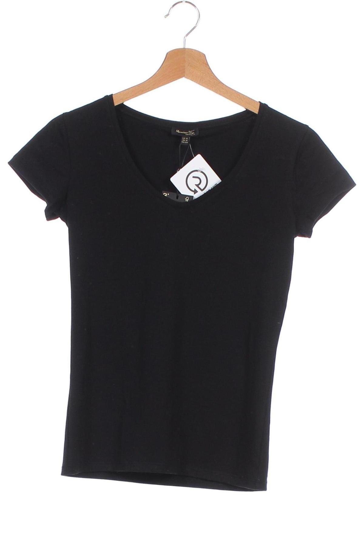 Дамска тениска Massimo Dutti, Размер XS, Цвят Черен, Цена 20,65лв.