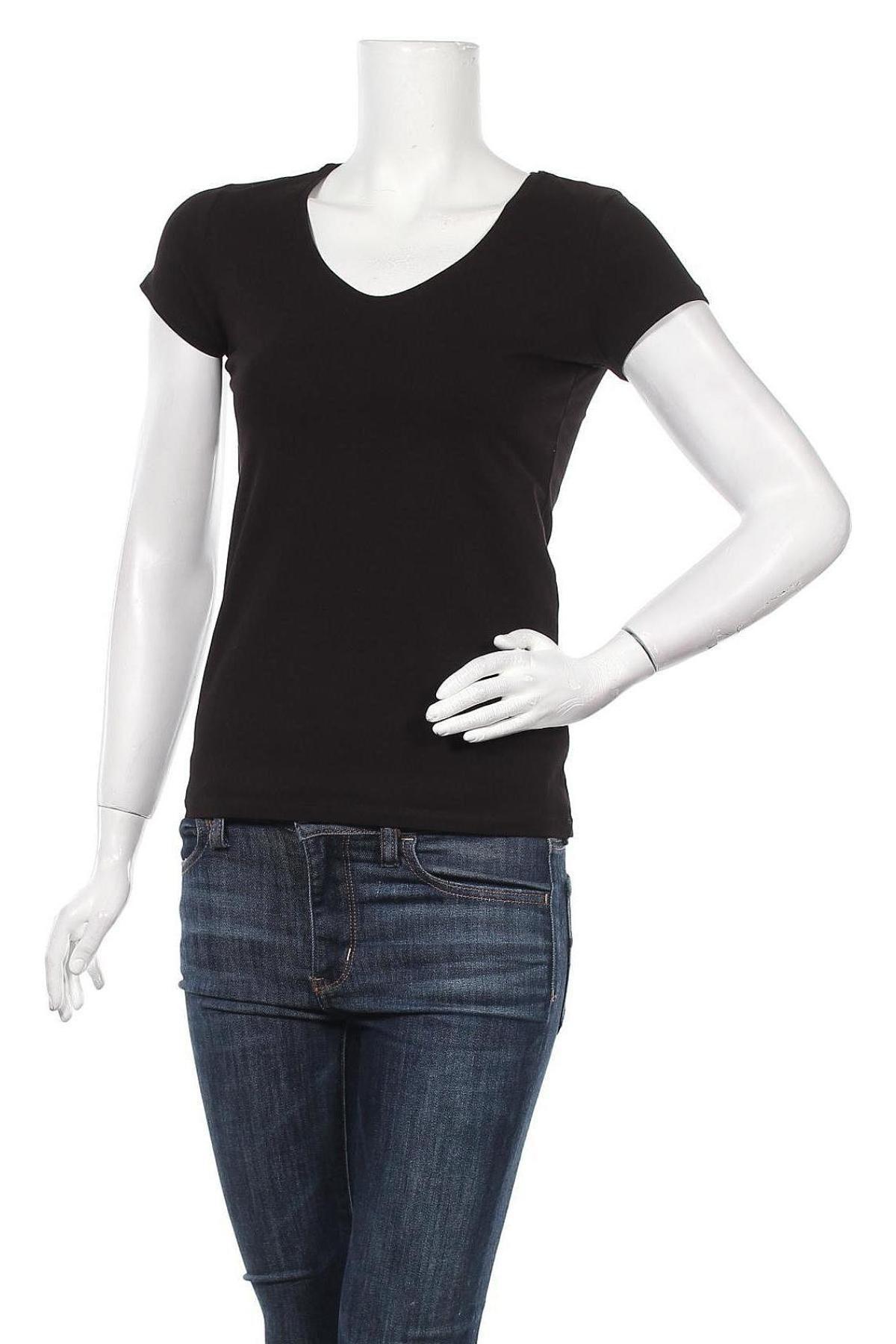 Дамска тениска Massimo Dutti, Размер S, Цвят Черен, 92% памук, 8% еластан, Цена 17,70лв.