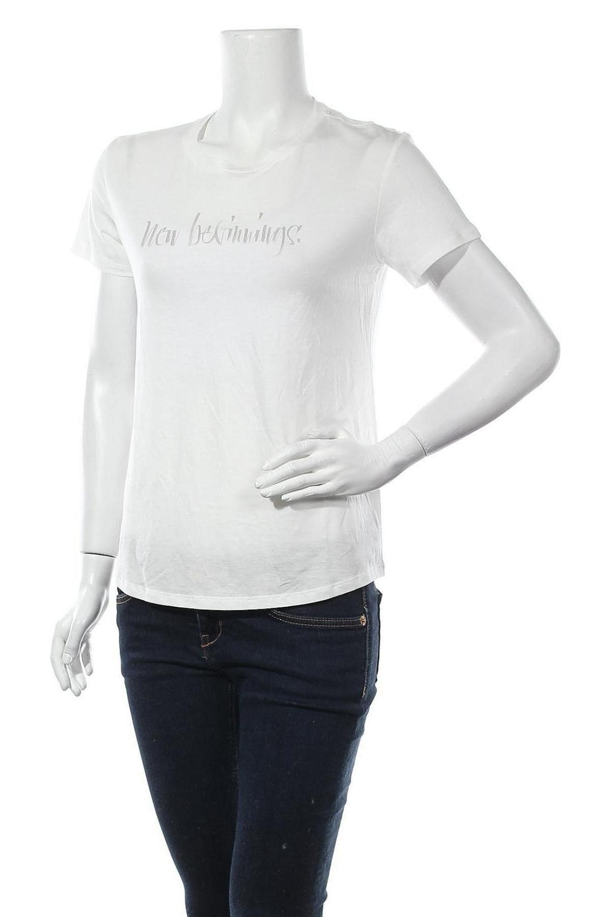 Дамска тениска Massimo Dutti, Размер S, Цвят Бял, 67% лиосел, 33% памук, Цена 20,70лв.