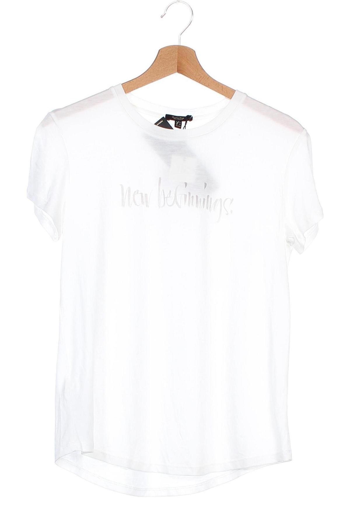 Дамска тениска Massimo Dutti, Размер XS, Цвят Бял, 67% лиосел, 33% памук, Цена 20,30лв.