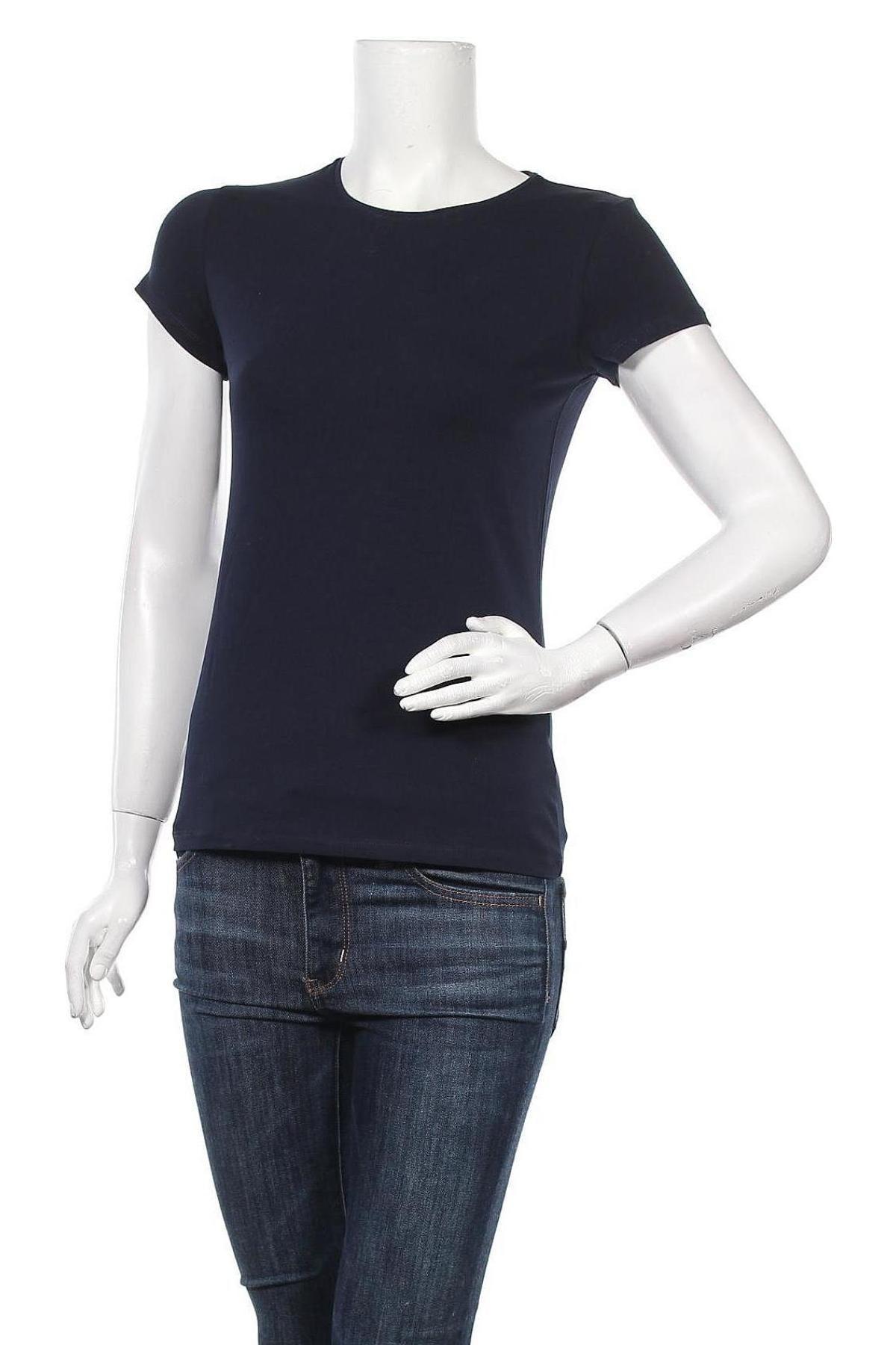 Дамска тениска Massimo Dutti, Размер M, Цвят Син, 92% памук, 8% еластан, Цена 17,70лв.