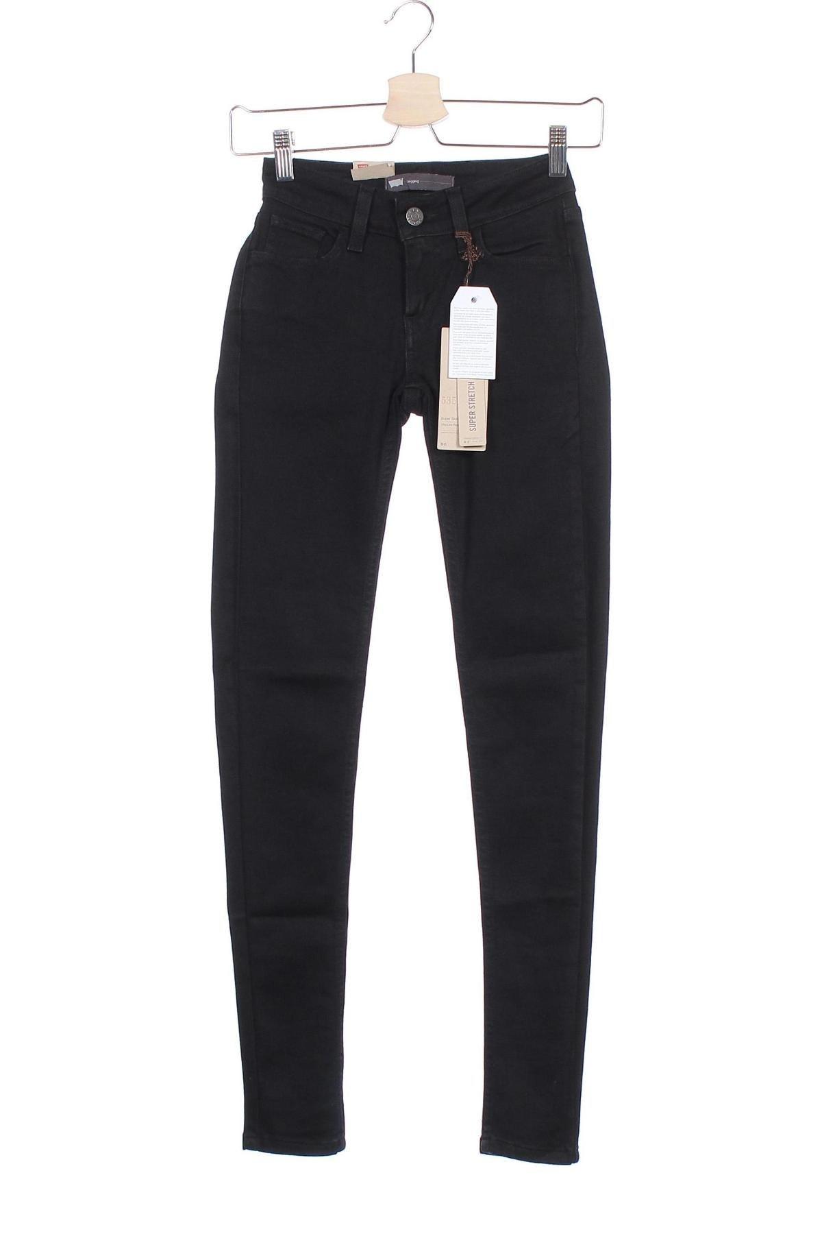 Дамски дънки Levi's, Размер XXS, Цвят Черен, 68% памук, 23% полиестер, 8% вискоза, 1% еластан, Цена 55,60лв.