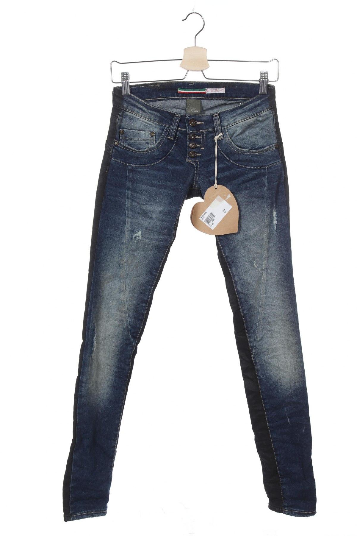 Дамски дънки Please, Размер XXS, Цвят Син, 98% памук, 2% еластан, Цена 12,72лв.