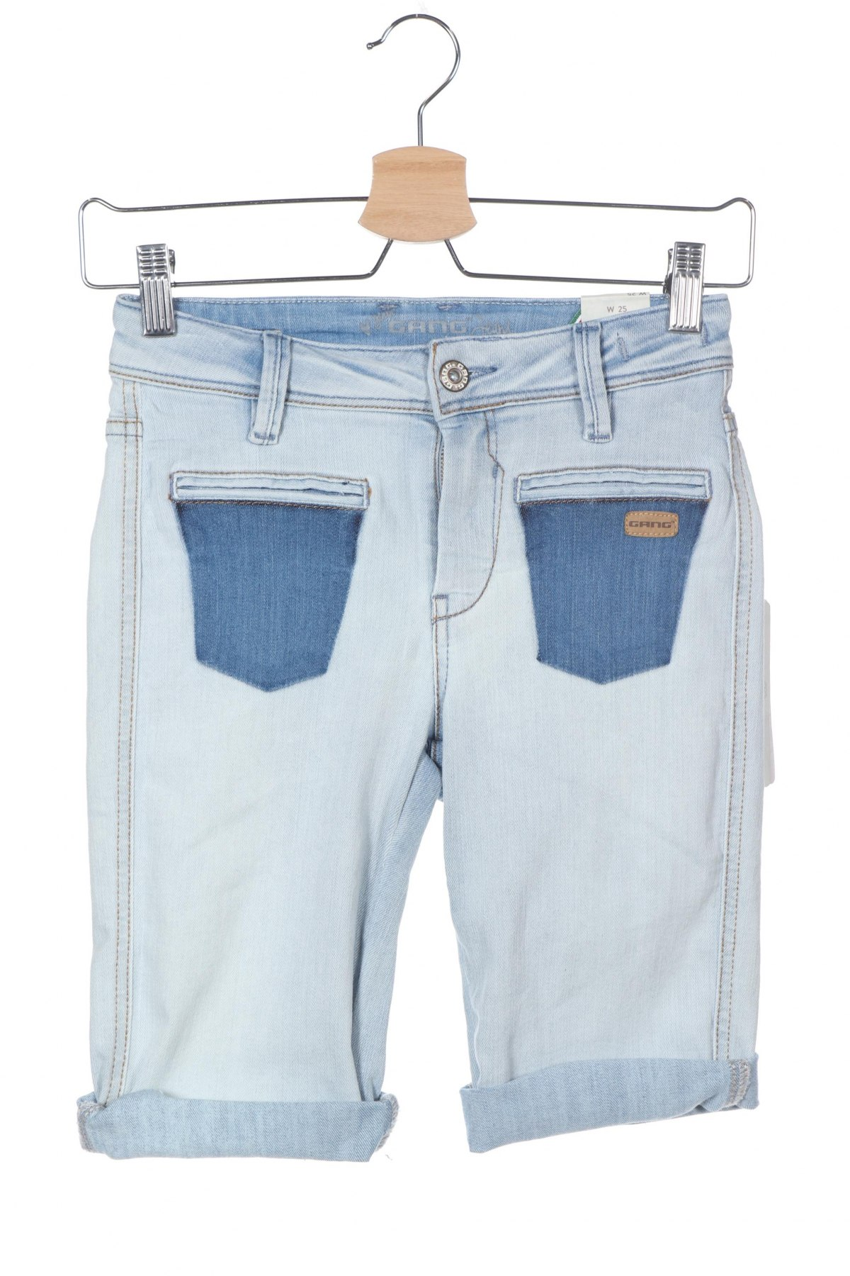 Γυναικείο κοντό παντελόνι Gang, Μέγεθος XS, Χρώμα Μπλέ, 71% βαμβάκι, 27% πολυεστέρας, 2% ελαστάνη, Τιμή 28,90€