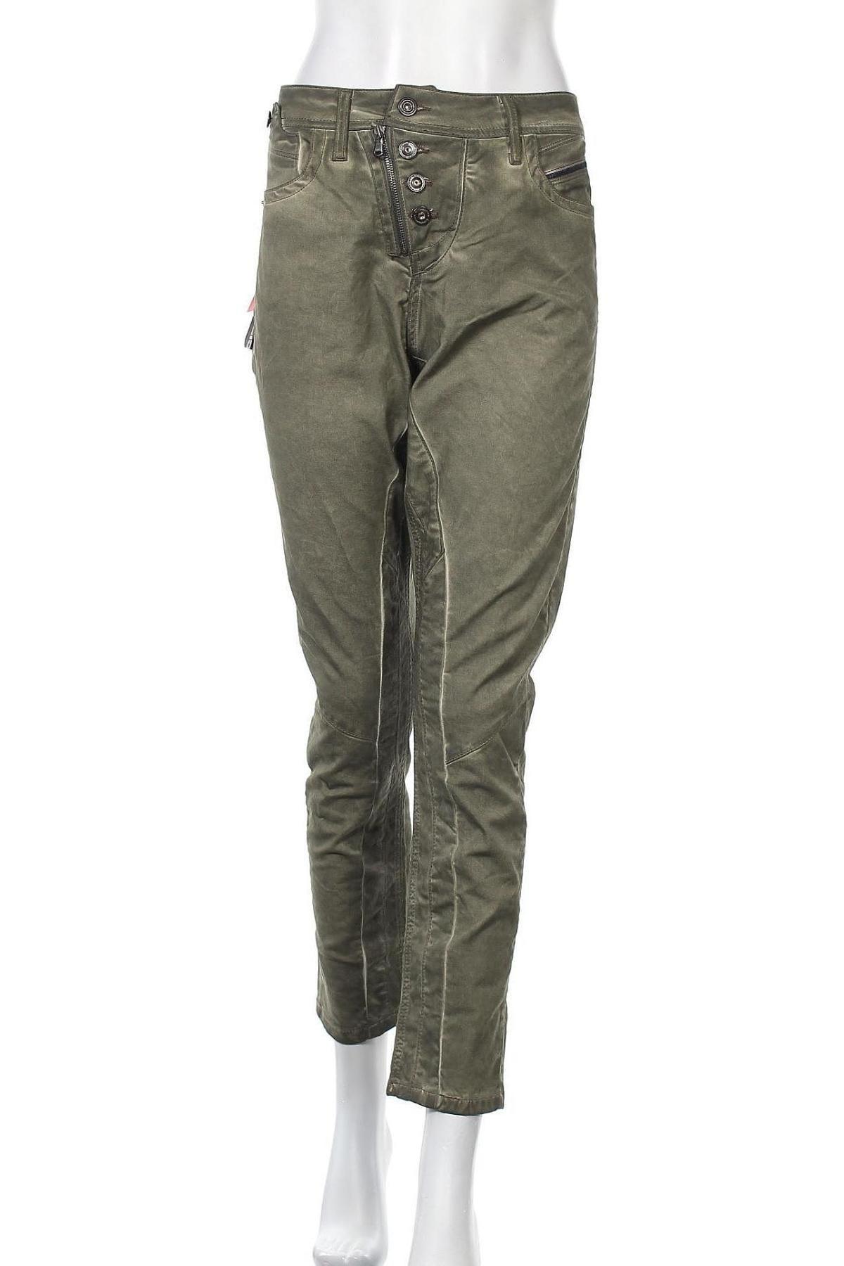 Дамски панталон Cipo & Baxx, Размер M, Цвят Зелен, 98% памук, 2% еластан, Цена 23,80лв.