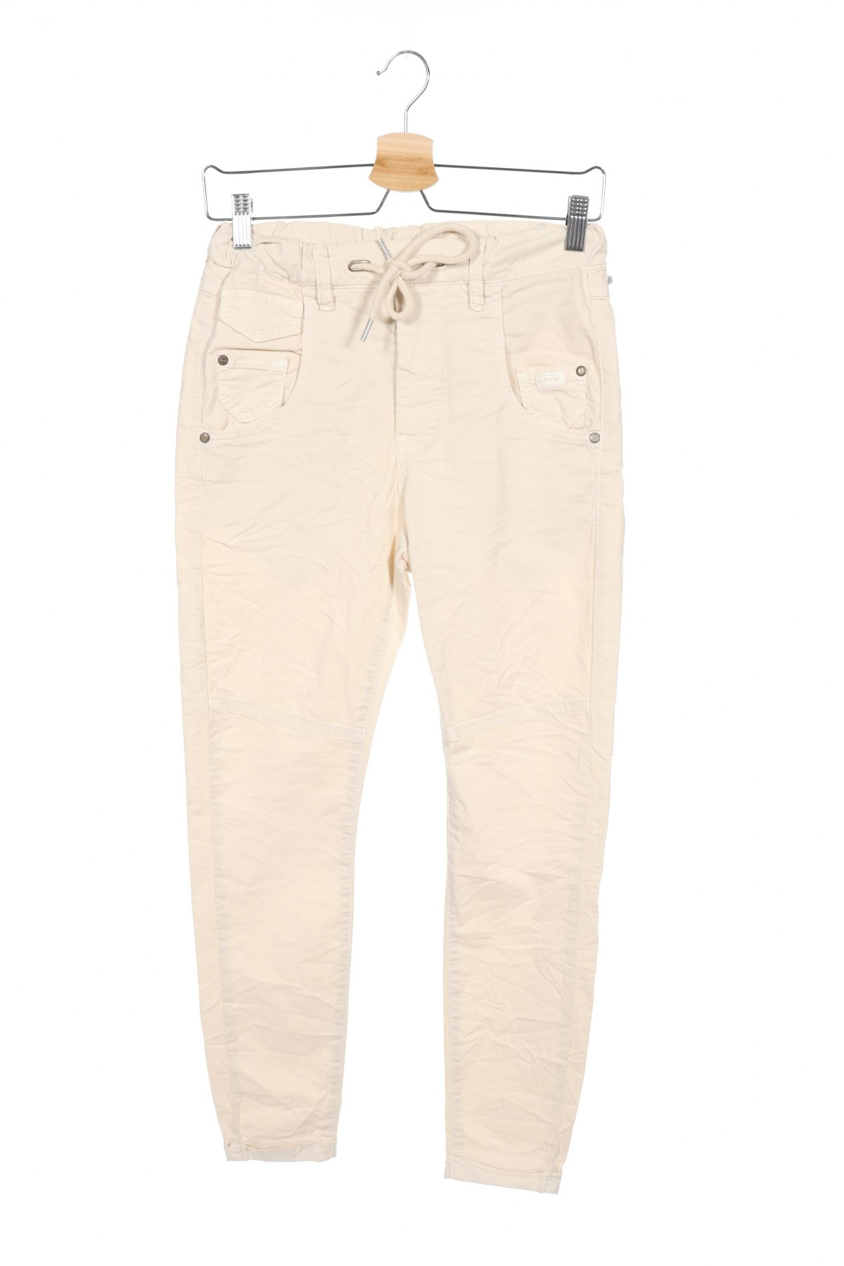 Дамски панталон Gang, Размер XS, Цвят Бежов, 97% памук, 3% еластан, Цена 28,62лв.