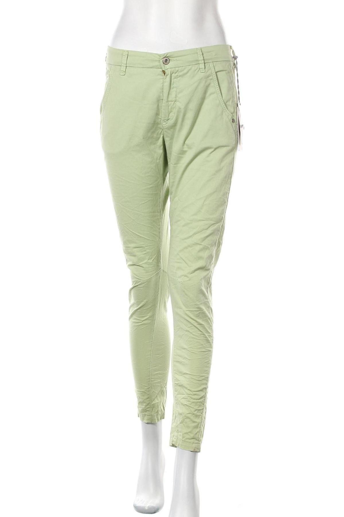 Дамски панталон Gang, Размер S, Цвят Зелен, 97% памук, 3% еластан, Цена 23,85лв.