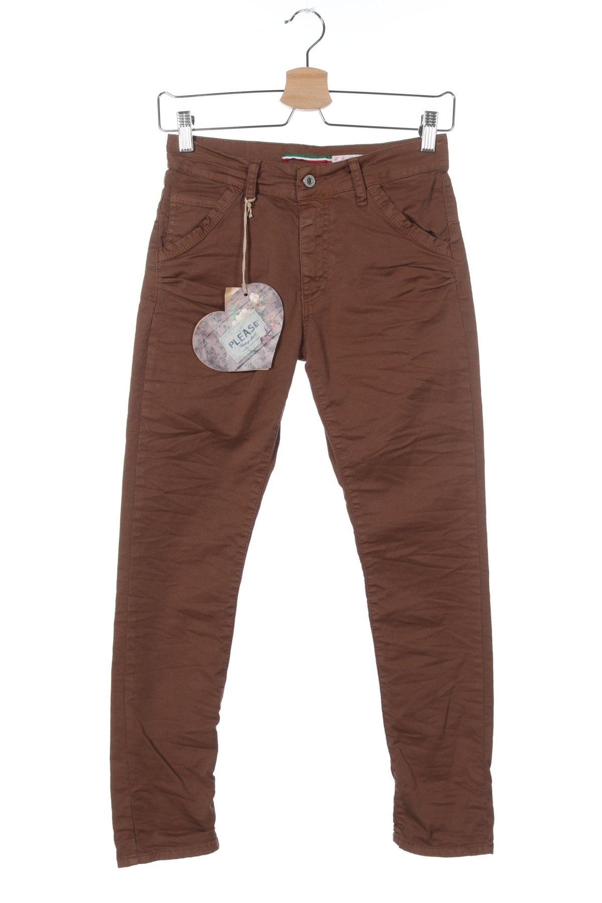 Дамски панталон Please, Размер XXS, Цвят Кафяв, 98% памук, 2% еластан, Цена 19,08лв.