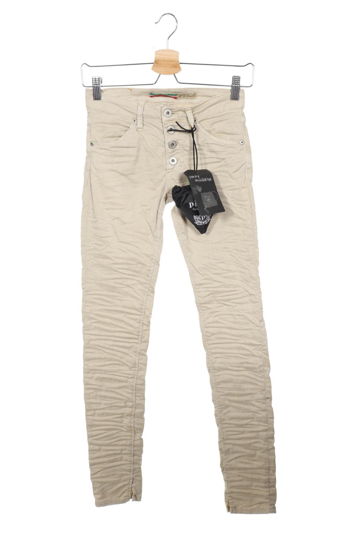 Дамски дънки Please, Размер XXS, Цвят Бежов, 98% памук, 2% еластан, Цена 23,85лв.