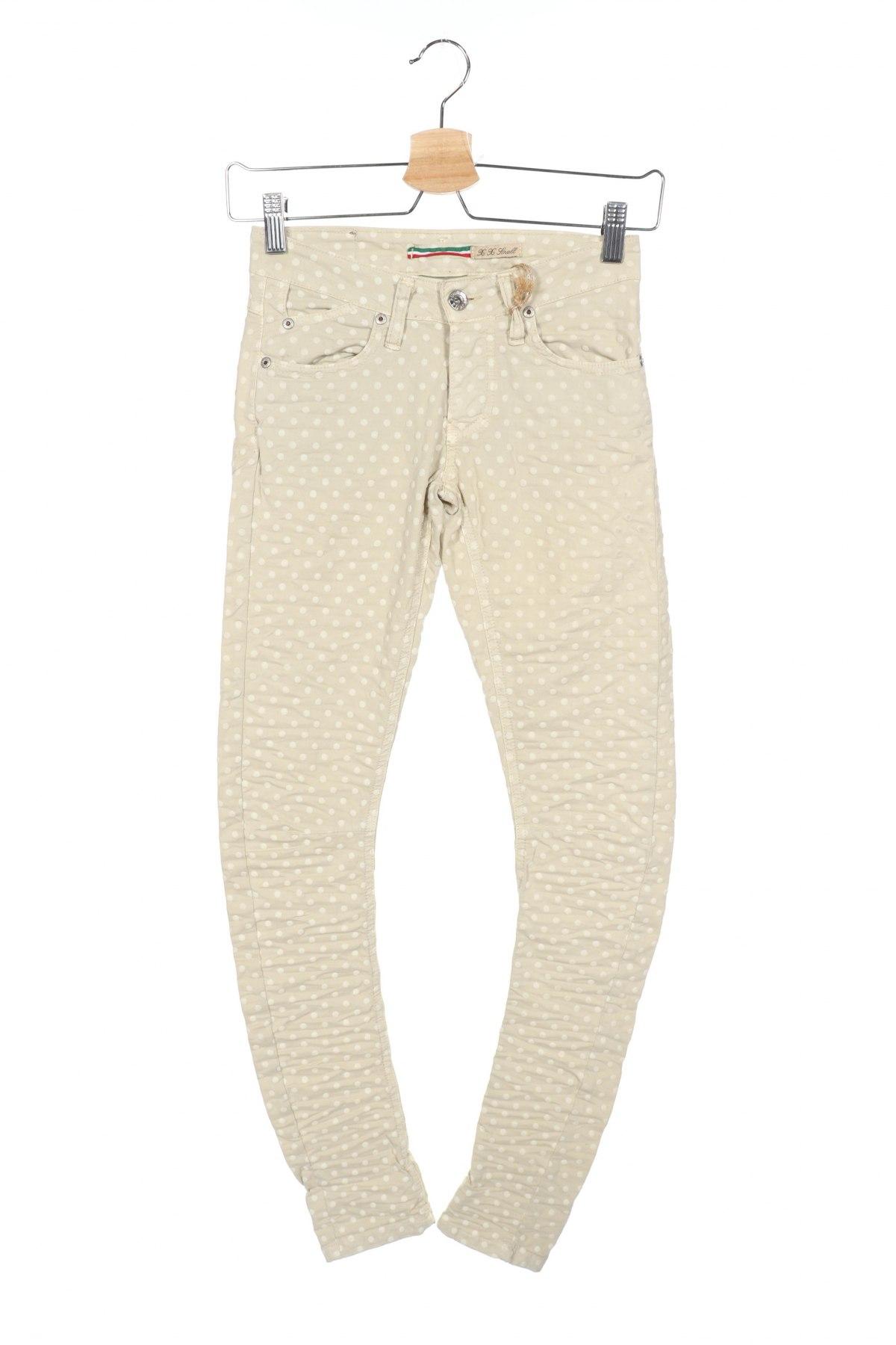Дамски панталон Please, Размер XXS, Цвят Бежов, 98% памук, 2% еластан, Цена 13,52лв.