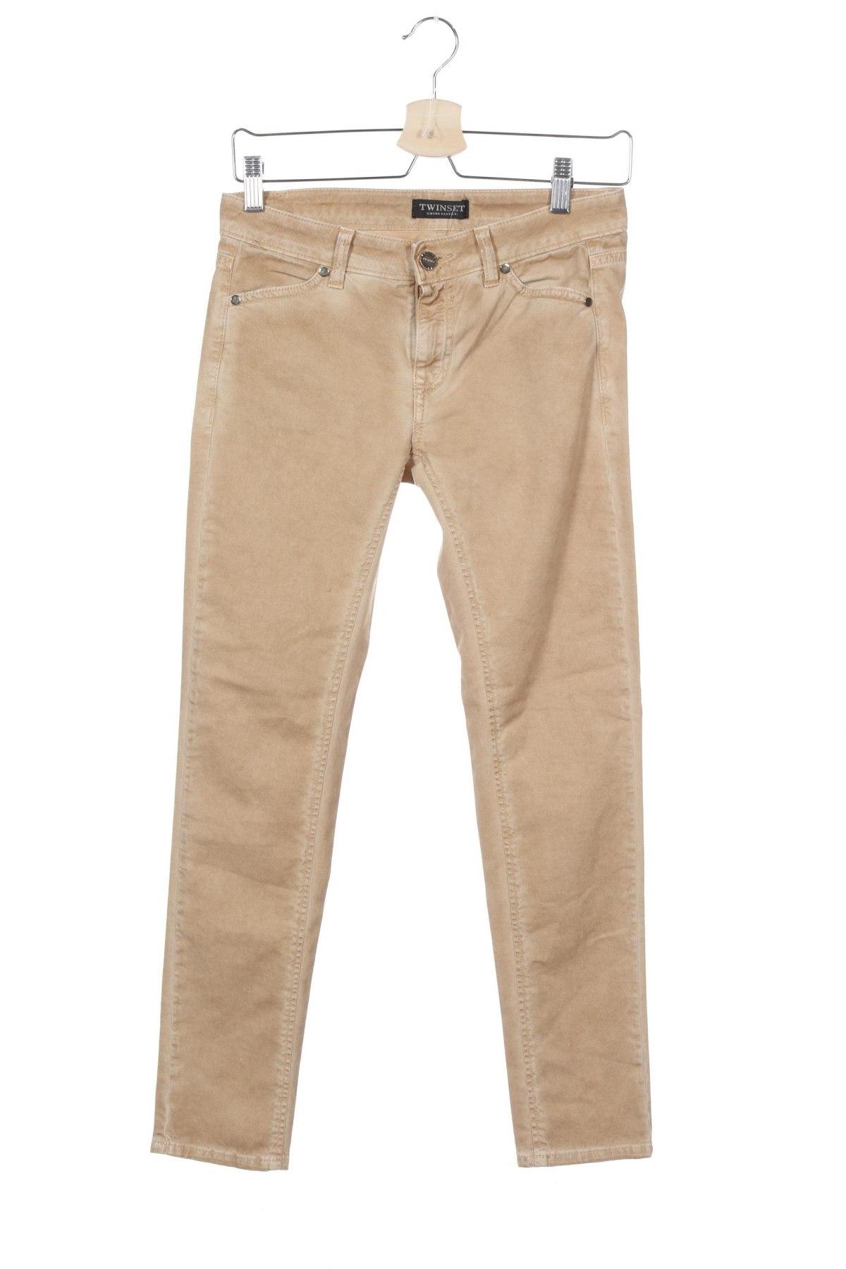 Дамски дънки TWINSET, Размер S, Цвят Бежов, 97% памук, 3% еластан, Цена 30,42лв.