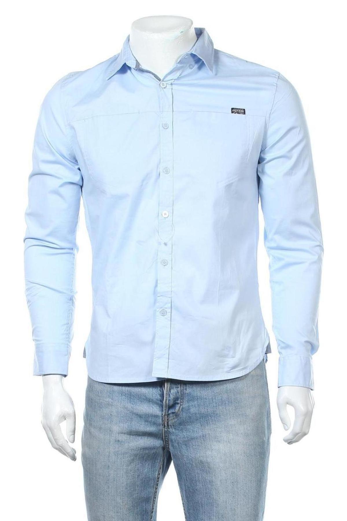 Мъжка риза Chasin', Размер S, Цвят Син, 97% памук, 3% еластан, Цена 59,25лв.